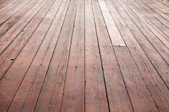 Czerwona drewniana podłogowa perspektywa. Tło tekstura Obraz Stock