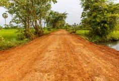 Czerwona droga gruntowa Iść przez zieleni pola w wsi zdjęcie stock