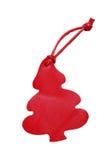 Czerwona drzewna rzemienna metka z rzemiennym sznurem odizolowywającym na białym b Obrazy Stock