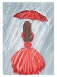 Czerwona dziewczyna z parasolem w deszczu Fotografia Stock
