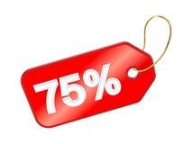Czerwona etykietka 75%. Zdjęcie Royalty Free