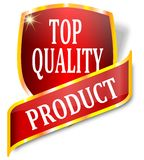 Czerwona etykietka wskazuje produkt odgórną ilość Obraz Stock