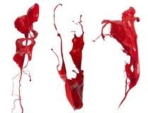 Czerwona farby pluśnięcia kolekcja Zdjęcia Stock