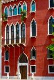 Czerwona fasada WENECJA Fotografia Stock