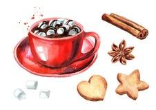 Czerwona filiżanka gorąca czekolada z marshmallow, cynamonowym kijem, gwiazdowym anyżem i bożych narodzeń ciastkami ustawiającymi ilustracji