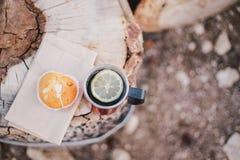 Czerwona filiżanka z herbatą, cytryna i ciastka na drewnianej beli Zdjęcie Stock