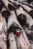 Czerwona filiżanka z herbatą i cytryną na drewnianej beli Obrazy Stock