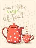Czerwona filiżanka i teapot na opadowym tle Obrazy Stock