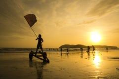 Czerwona Flaga przy Langkawi plażą Fotografia Royalty Free