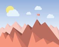 Czerwona flaga przy wierzchołkiem pasmo górskie Obrazy Royalty Free