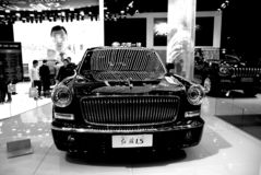 Czerwona flaga samochód, szlachetny piękno samochodu model zdjęcia royalty free