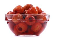 Czerwona głogowa owoc w syropie obraz royalty free