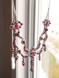 Czerwona Garnet kolia Fotografia Royalty Free