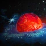 Czerwona gorąca planeta rusza się w kosmosie wśród gwiazd, abstrac ilustracja wektor