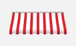 Czerwona i biała markiza Realistyczny baldachim dla sklepu ilustracji