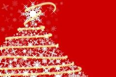 Czerwona i biała płatek śniegu choinka ilustracja wektor