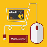 Czerwona i Biała mysz w wózek na zakupy symbolu Obraz Stock