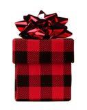 Czerwona i czarna szkocka krata deseniował Bożenarodzeniowego prezenta pudełko odizolowywającego Zdjęcia Royalty Free