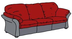 Czerwona i szara kanapa ilustracja wektor