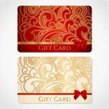 Czerwona i złocista prezent karta z kwiecistym wzorem Zdjęcia Stock