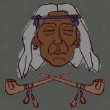 Czerwona indianin głowa z drymbami Zdjęcia Stock