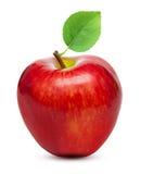 Czerwona jabłczana owoc z liściem zdjęcie royalty free