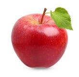 Czerwona jabłczana owoc z liściem fotografia royalty free