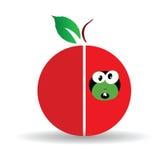 Czerwona jabłczana sztuki ilustracja z śliczną dżdżownicą Obrazy Royalty Free