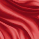 Czerwona jedwabnicza materialna tło ilustracja, fałdy lub drapujący płótno w krzywach, Fotografia Royalty Free