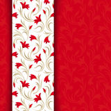 Czerwona kartka z kwiecistym wzorem. Zdjęcie Stock