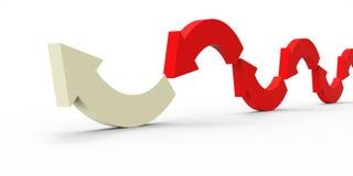 Czerwona kierunek strzała na białym tle Zdjęcie Royalty Free