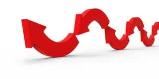 Czerwona kierunek strzała na białym tle Obrazy Royalty Free
