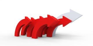 Czerwona kierunek strzała na białym tle Obraz Stock