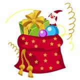 Czerwona kieszonka Święty Mikołaj wypełniał z Bożenarodzeniowymi prezentami odizolowywającymi na białym tle Wektorowy kreskówki z royalty ilustracja
