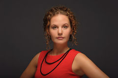 czerwona kobieta Zdjęcia Royalty Free