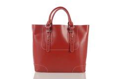 Czerwona kobiety torebka odizolowywająca na białym tle Zdjęcie Stock