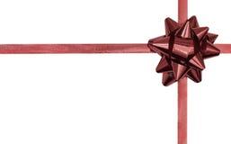 czerwona kopii dziobu wstążki w przestrzeni Fotografia Royalty Free