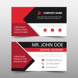 Czerwona korporacyjna wizytówka, imię karty szablon, horyzontalny prosty czysty układu projekta szablon, Biznesowy sztandaru szab ilustracja wektor