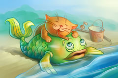 Czerwona kot miłość ryba Zdjęcia Royalty Free