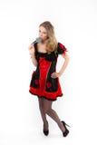 Czerwona królowa cosplay - ładna młoda kobieta Fotografia Royalty Free