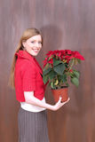 Czerwona kwiat dziewczyna Obraz Stock