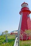 Czerwona latarnia morska przy losem angeles Martre z ogrodzeniem Obraz Royalty Free