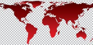 Czerwona mapa świat na przejrzystym tle ilustracja wektor
