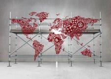 Czerwona mapa i raca przeciw rusztowaniu w popielatym pokoju ilustracji