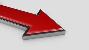 Czerwona metal strzała isoleted na białej tła 3d ilustraci Zdjęcie Royalty Free