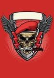 Czerwona militarna beret czaszka z nożowym projektem royalty ilustracja