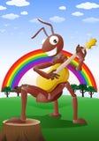 Czerwona mrówka bawić się gitarę Zdjęcia Royalty Free
