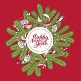 Czerwona nowy rok karta z świerkowymi gałąź, dekoracjami i literowaniem, royalty ilustracja