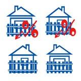 Czerwona odznaka interes na tle domy Zdjęcie Royalty Free