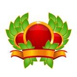 Czerwona odznaka z Tasiemkowym sztandarem Zdjęcie Royalty Free